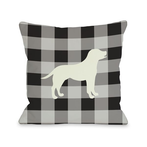 Doggy Décor Gingham Silhouette Lab Lumbar Pillow by One Bella Casa