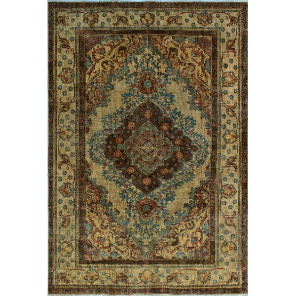 One-of-a-Kind Millikan Distressed Overdyed Austen Hand-Knotted Wool Brown/Blue Are Rug by Bloomsbury Market