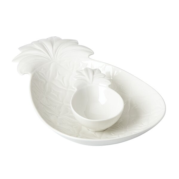 British Colonial Carved White Pineapple Chip & Dip Tray by Lenox