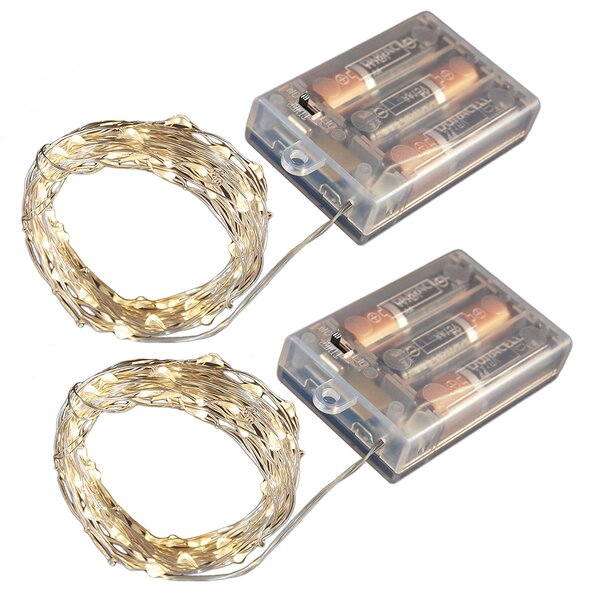 Battery Operated LED Waterproof Mini String Lights with Timer by LumaBase