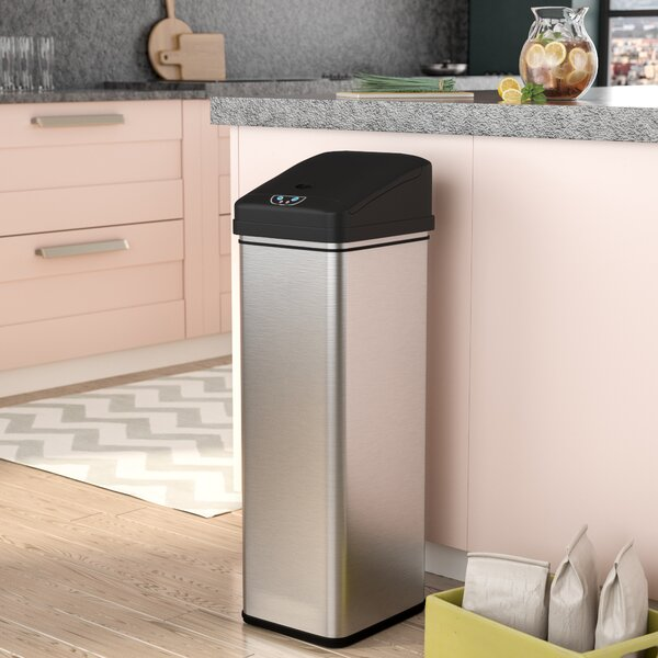 Ealy Stainless Steel 13 Gallon Motion Sensor Trash Can by Rebrilliant