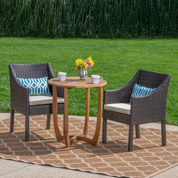 Villatoro Outdoor 3 Piece Bistro Set with Cushions by Ebern Designs