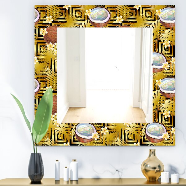 Tropical with Coconuts and Flowers Wall Mirror