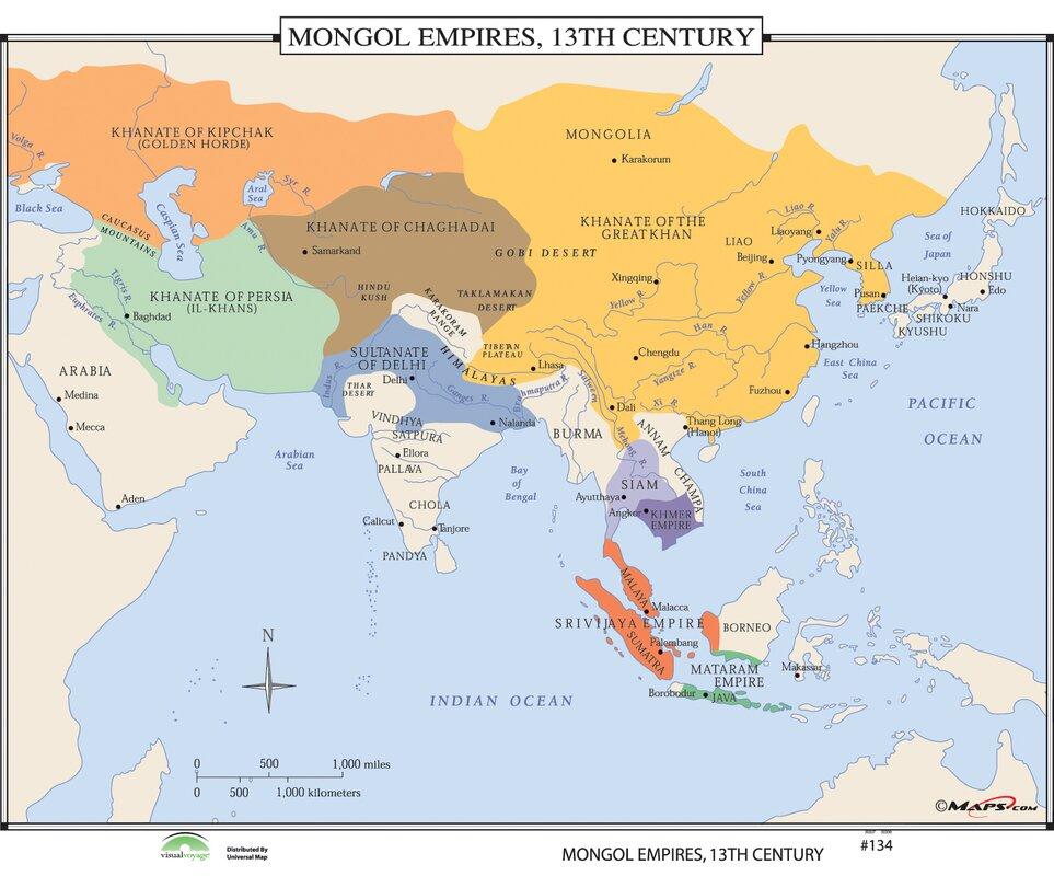 Universal Map World History Wall Maps Mongol Empires Th - Wall maps