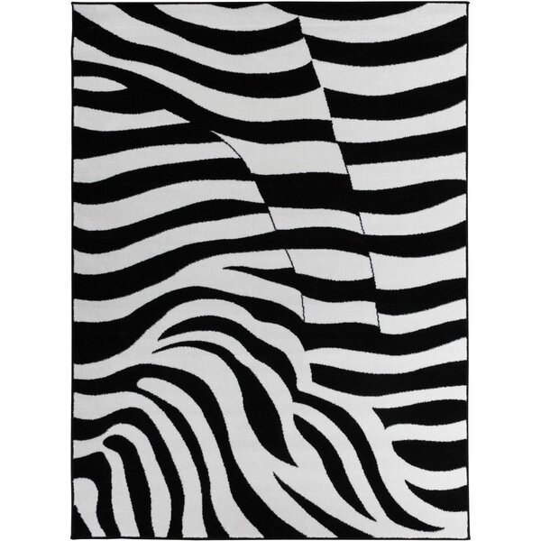 Euan Zebra Animal Print Black/White Area Rug by Bloomsbury Market
