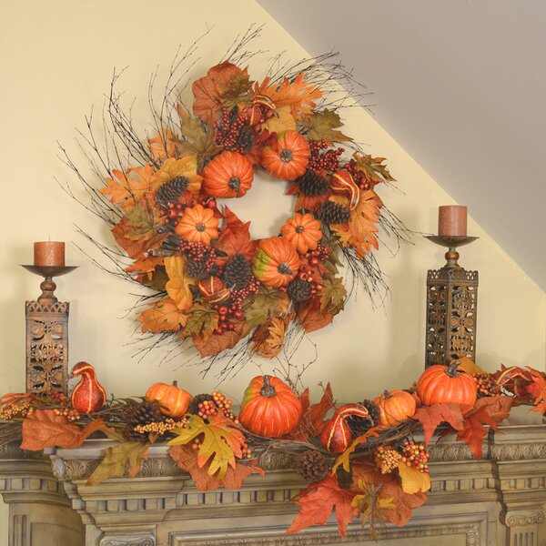 Large Pumpkin and Twig Wreath and Garland Set by Floral Home Decor
