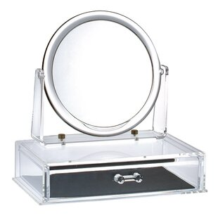 Affordable Magnifying Makeup Mirror with Drawer By Rebrilliant