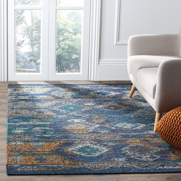 Elan Hand-Woven Blue/Gold Area Rug by Loon Peak