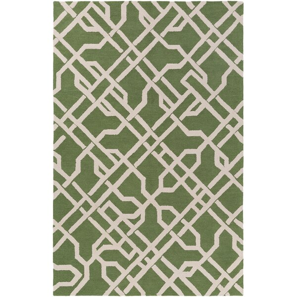 Daigle Hand-Crafted Green Area Rug by Breakwater Bay