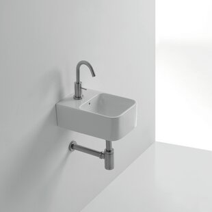 Best Reviews Normal Ceramic 14 Wall Mount Bathroom Sink with Overflow By WS Bath Collections