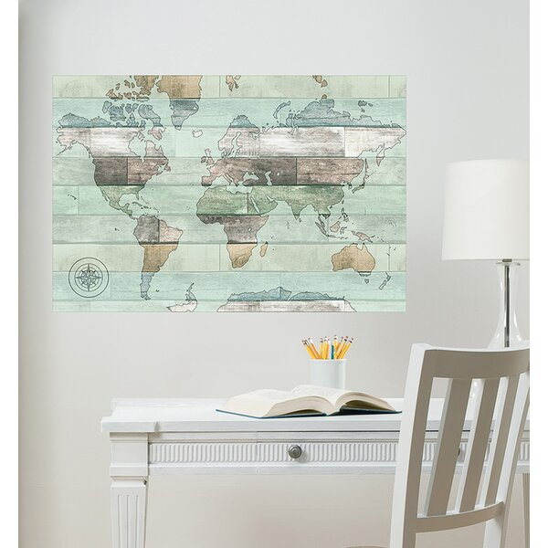 Timber World Map Wall Decal by WallPops!
