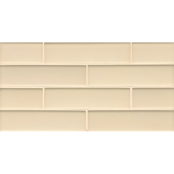 Remy Glass 8 x 16 Glass Mosaic 2x8 Matte  Mesh Mount Tile in Blonde by Grayson Martin