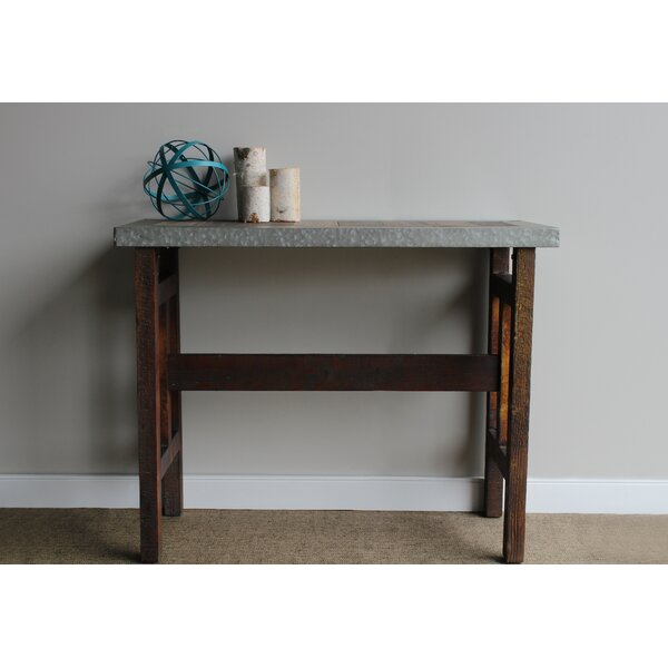 Bruhn Wood Console Table with Galvanized Edge by Williston Forge