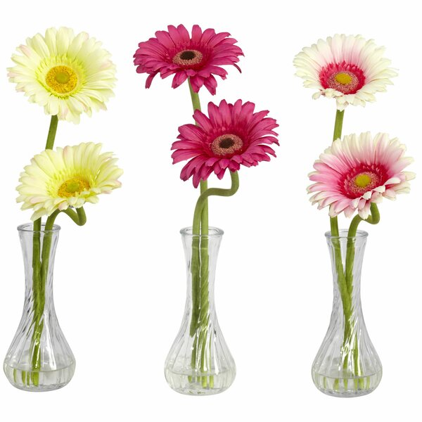 Gerber Daisy with Bud Vase (Set of 3) by Nearly Natural