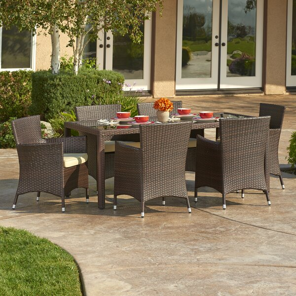 Crotts 7 Piece Dining Set with Cushions by Rosecliff Heights
