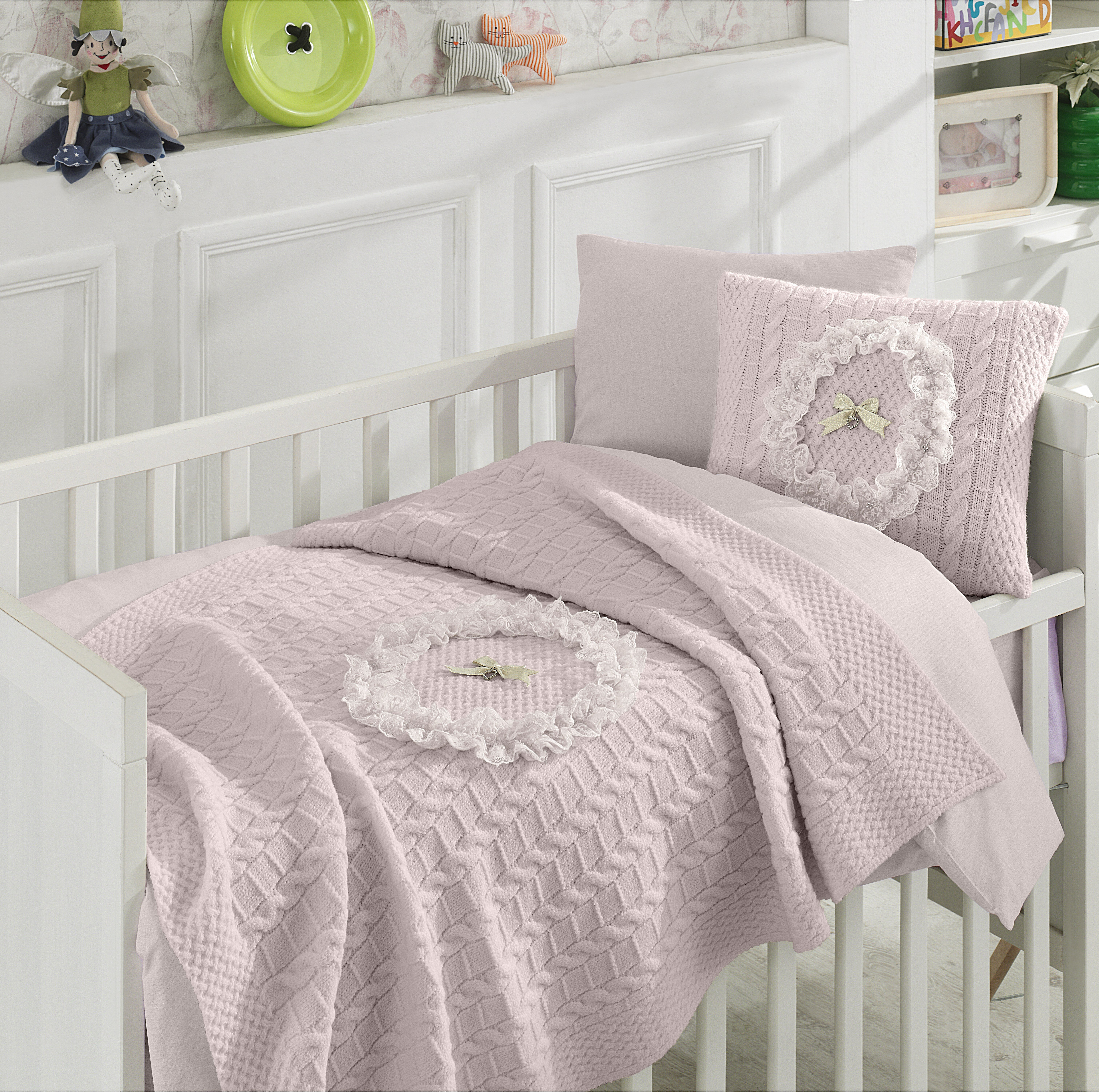 liz baby bedding attachment with petal cribs crib bumperless themed pink set floral skirt