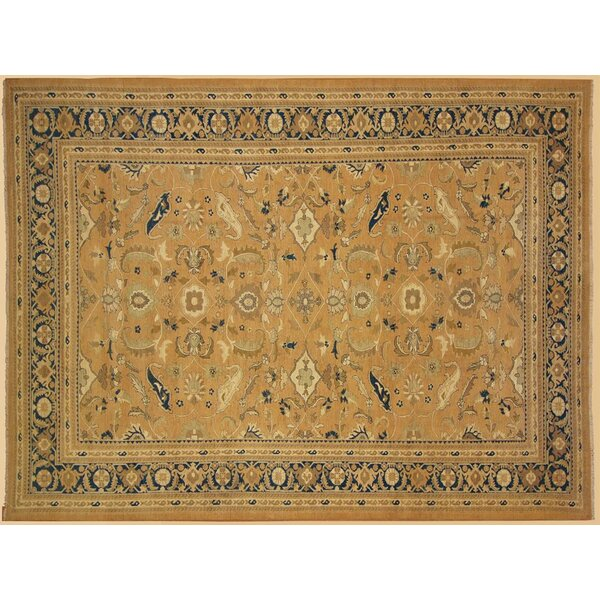 Xenos Hand-Knotted Wool Taupe/Blue Area Rug by Astoria Grand