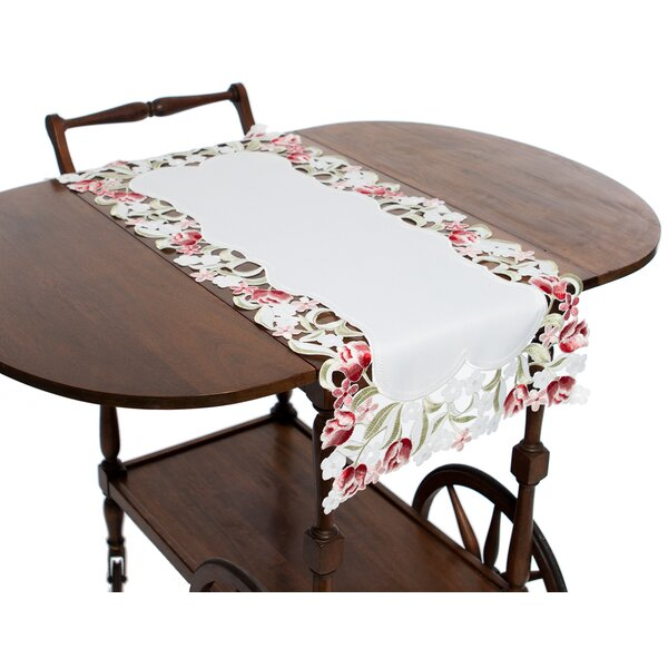 Lush Rosette Embroidered Cutwork Table Runner by Manor Luxe