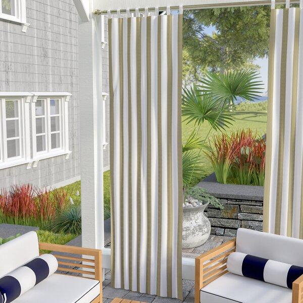 Berklee Striped Room Darkening Outdoor Tab Top Single Curtain Panel by Beachcrest Home