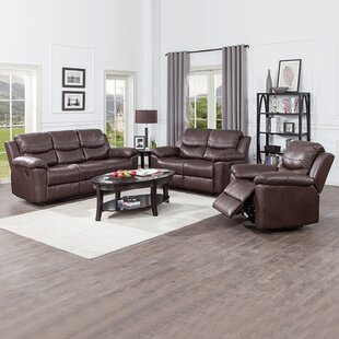 Avory 3 Piece Faux Leather Living Room Set by Red Barrel Studio®