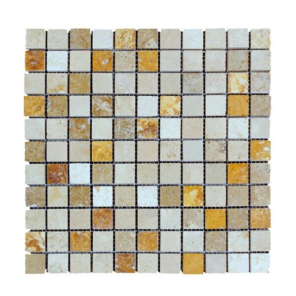 Honed 1 x 1 Natural Stone Mosaic Tile in Gold/Noce by QDI Surfaces