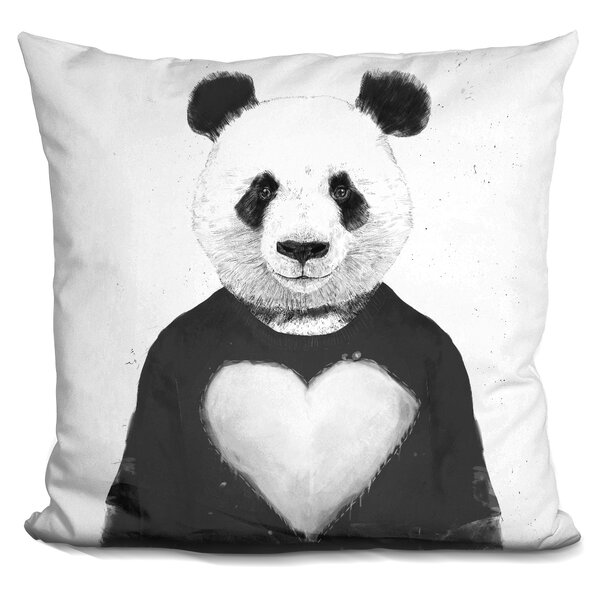 Lovely Panda Throw Pillow by East Urban Home