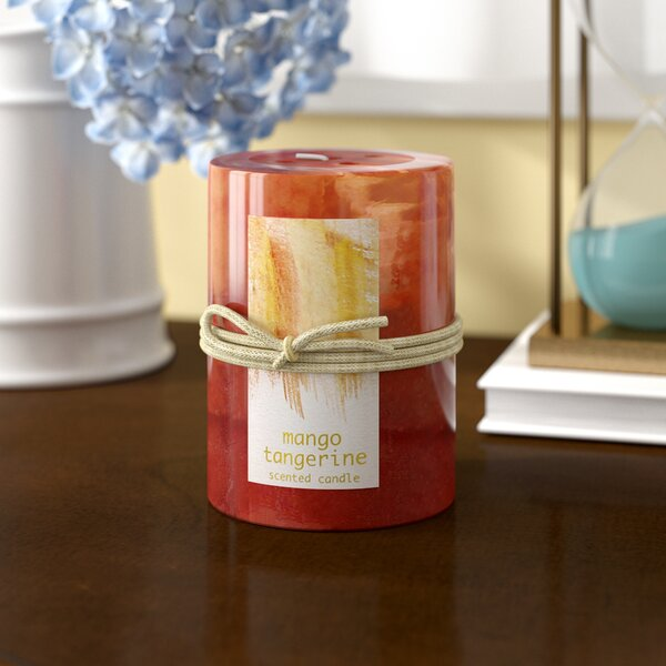 Tangerine Mango Scented Pillar Candle by Alcott Hill