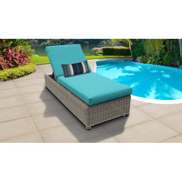 Djanira Wheeled Outdoor Wicker Reclining Chaise Lounge with Cushion by Highland Dunes