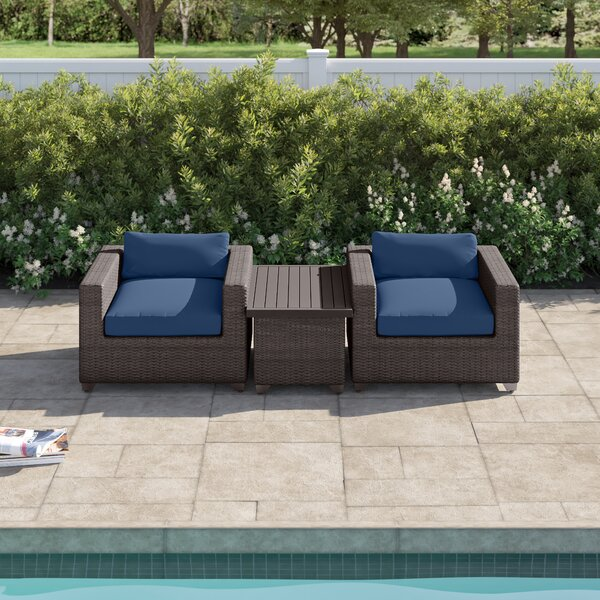 Fernando 3 Piece Seating Group with Cushions by Sol 72 Outdoor