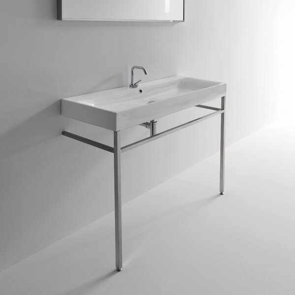 Cento Ceramic 48 Console Bathroom Sink with Overflow by WS Bath Collections