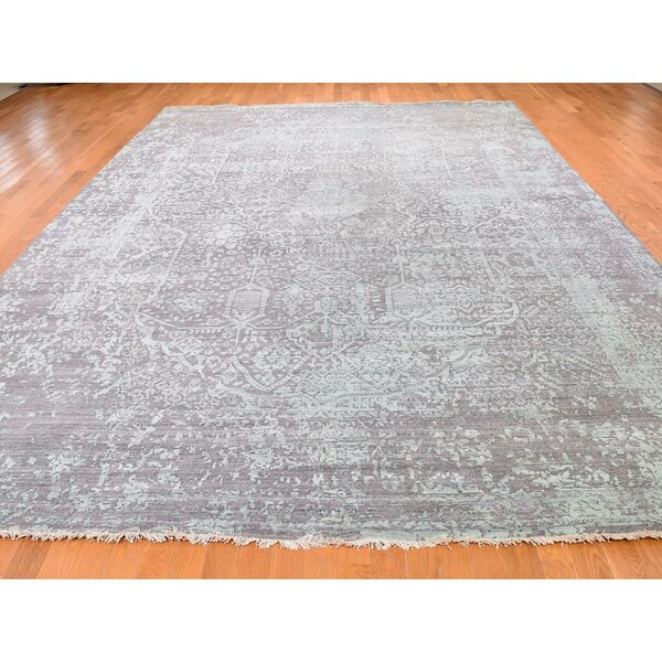 One-of-a-Kind Braiden Hand-Knotted Gray 9'10 x 13'10 Area Rug