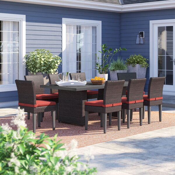 Tegan 9 Piece Outdoor Patio Dining Set with Cushions by Sol 72 Outdoor