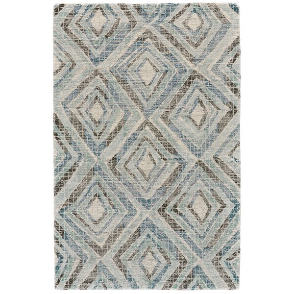 Wells Hand-Tufted Blue Area Rug by Wrought Studio