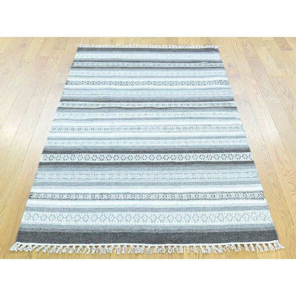 One-of-a-Kind Bednarz Striped Reversible Handmade Kilim Wool Area Rug by Isabelline