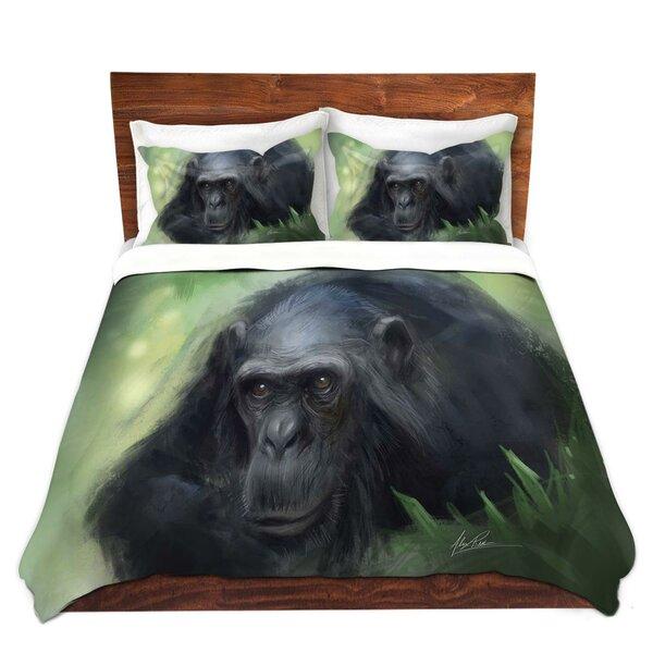 Pinckard Alex Ruiz Chimpanzee Microfiber Duvet Covers by World Menagerie