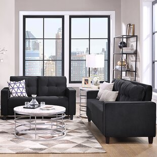 Modern Tufted Velvet 2 Piece Living Room Sofa Set For Home Or Office With Loveseat And 3-Seater Couch, Grey by Ebern Designs