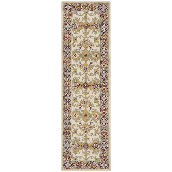 Moss Hand Tufted Wool Ivory Area Rug by Bloomsbury Market