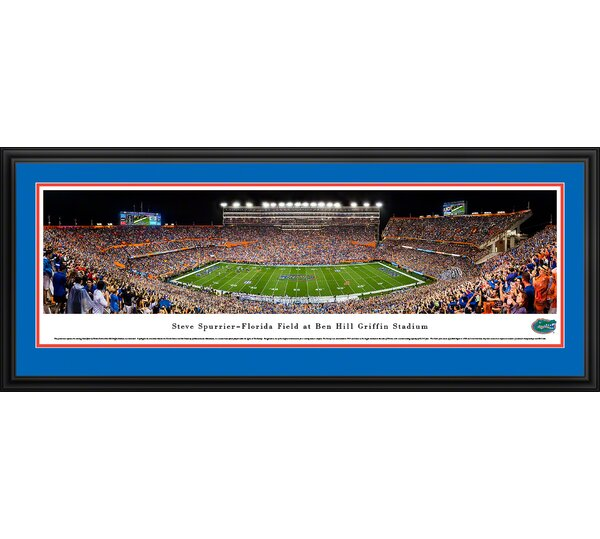 NCAA Florida Gators Football 50 Yard Line Framed Photographic Print by Blakeway Worldwide Panoramas, Inc