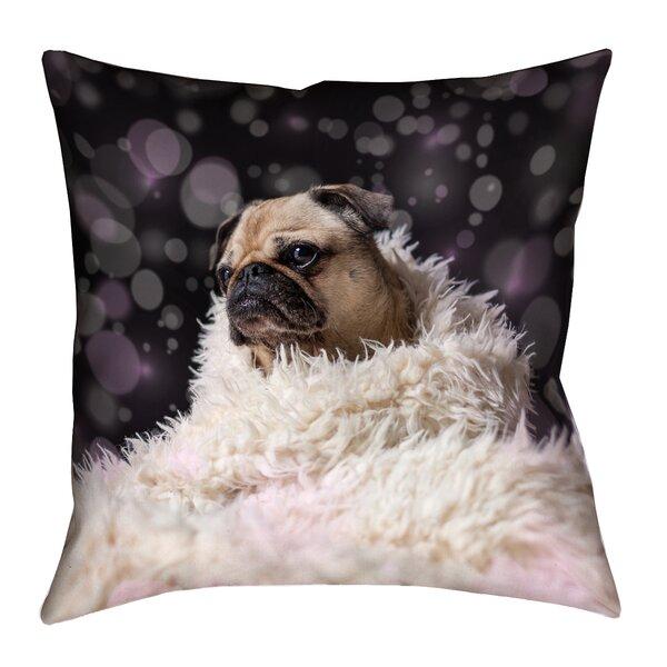 Hansard Fancy Pug Square Outdoor Throw Pillow