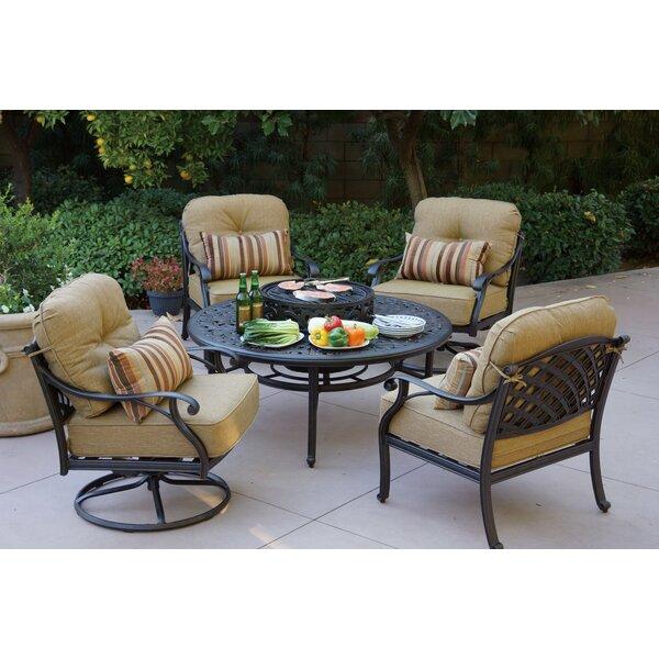 Lincolnville 5 Piece Conversation Set with Cushions by Fleur De Lis Living
