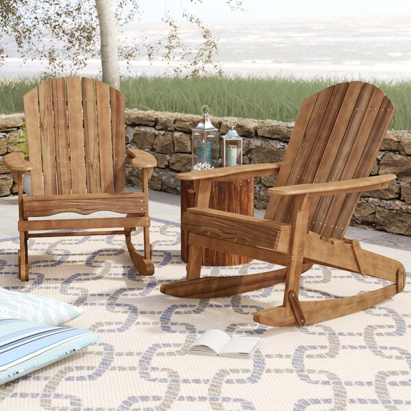 Crossen Solid Wood Rocking Adirondack Chair (Set of 2) by Rosecliff Heights Rosecliff Heights