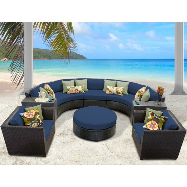Medley 8 Piece Rattan Sectional Seating Group with Cushions by Rosecliff Heights