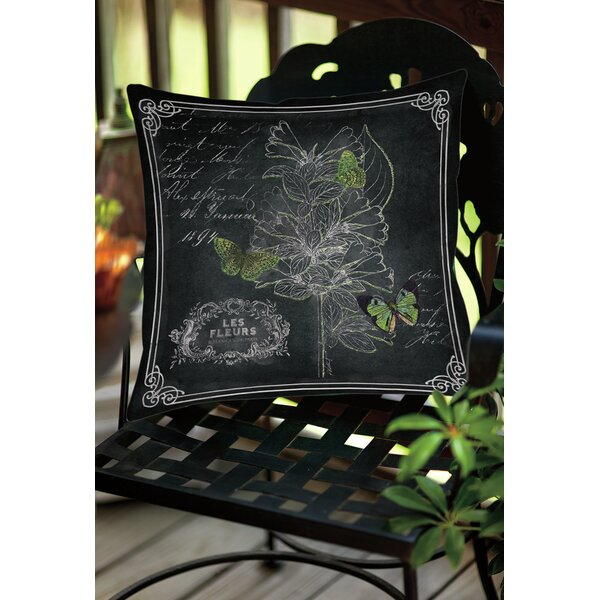Chalkboard Botanical 2 Indoor/Outdoor Throw Pillow by Manual Woodworkers & Weavers