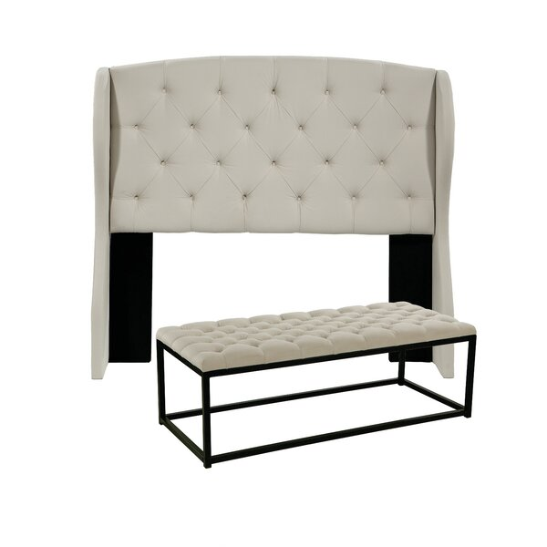 Sornson Upholstered Wingback Headboard and Tufted Bench by Darby Home Co