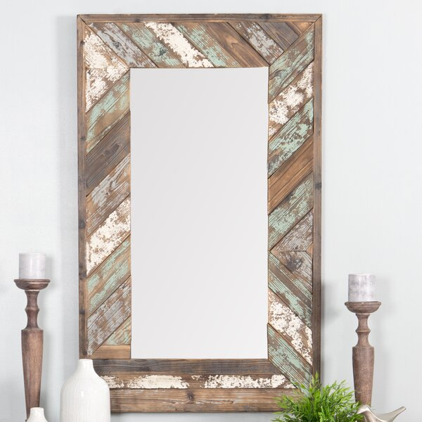 Yorktown Distressed Wood Slat Wall Mirror by Rosecliff Heights