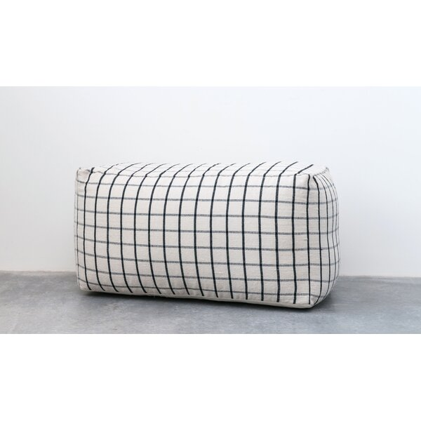 Denault Plaid Cotton Blend Pouf by Bungalow Rose
