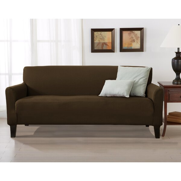 Solid Stretch T-Cushion Sofa Slipcover by Winston Porter