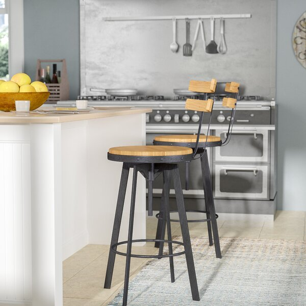 Gloria Adjustable Height Swivel Bar Stool by Laure