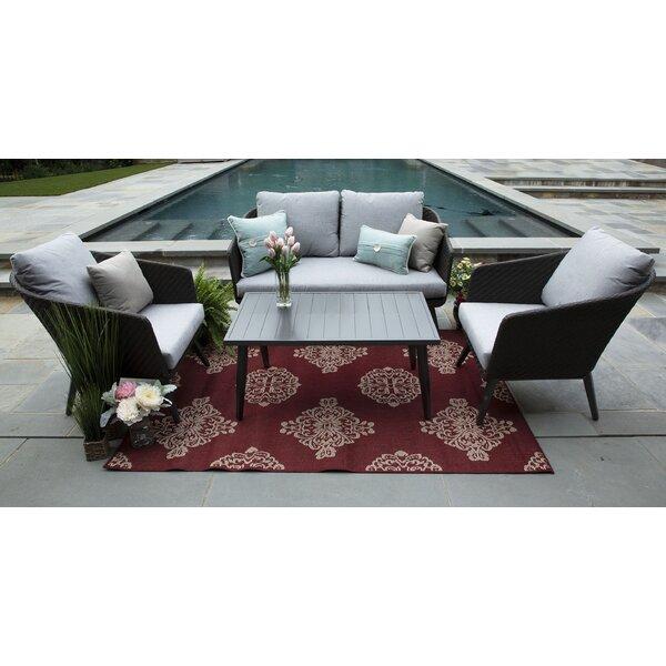 Eaglin 4 Piece Sunbrella Sofa Set with Cushions by Corrigan Studio