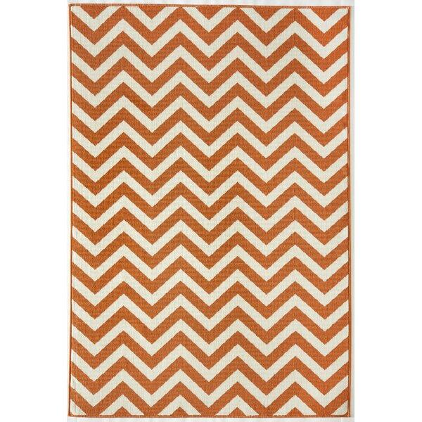 Halliday Orange/Ivory Indoor/Outdoor Area Rug by Beachcrest Home